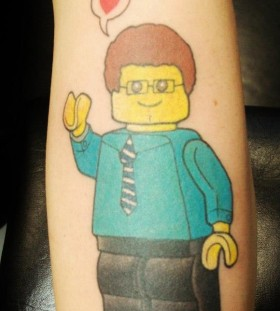 Lego man thinking abaout love tattoo