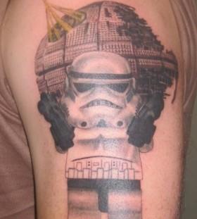 Lego star wars stormtrooper and death star tattoo