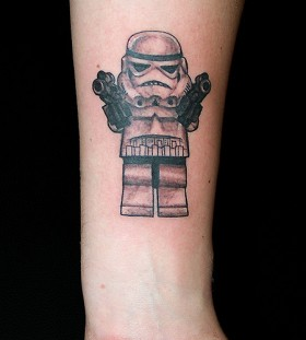 Lego stormtrooper tattoo on wrist