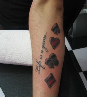 Life is a game and card symbol tattoo