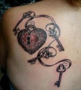 Locket and keys back tattoo