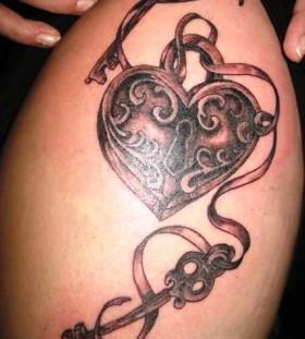 Locket and keys tattoo