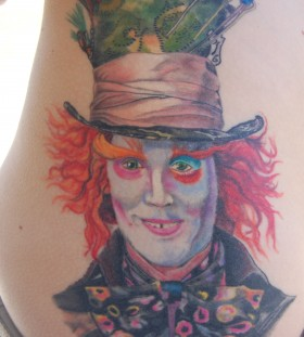 Mad Hatter side tattoo