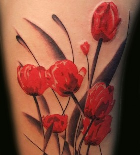 Nice poppy flower tattoo