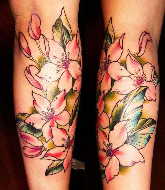 Orchid tattoos on both arms