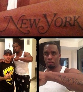 P Diddy New York arm tattoo