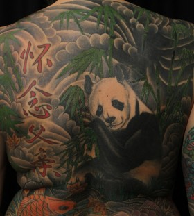 Panda bear full back tattoo