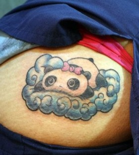 Panda bear on a cloud tattoo