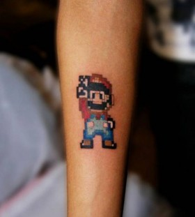Peace looking mario style tattoo