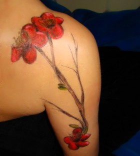 Poppy flower arm tattoo
