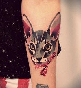 Pretty cat's animal tattoo