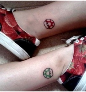 Pretty legs mario style tattoo