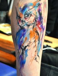 Pretty owl watercolor tattoo