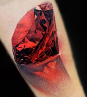 Red adorable diamond tattoo on arm