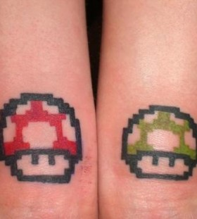 Red and green mario game tattoo