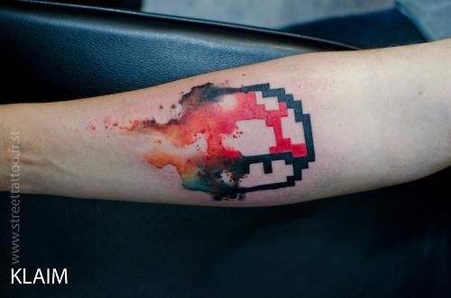Red and white mario style tattoo