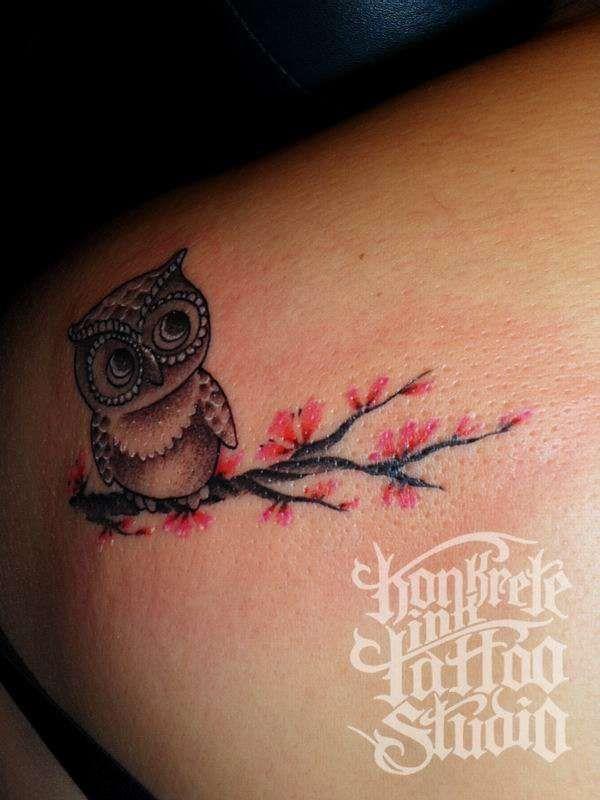 bf5fa624e5368 Red blossom tree and owl tattoo - | TattooMagz › Tattoo Designs ...