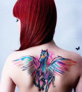 Red hair girl's animal tattoo
