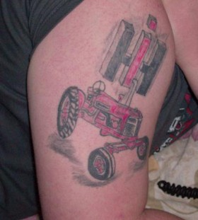 Red tractor tattoo