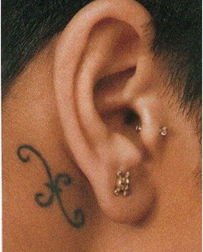 Rihanna black astronomic tattoo