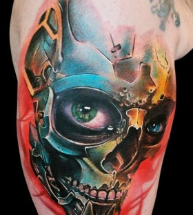 Robot skull arm tattoo