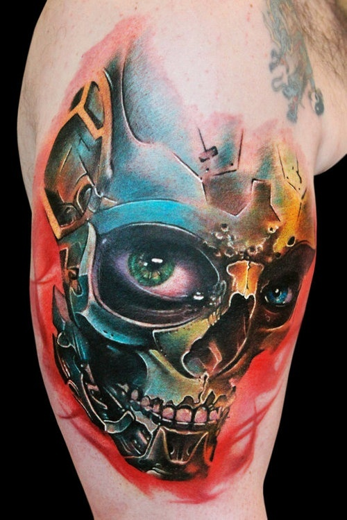 Robot skull arm tattoo