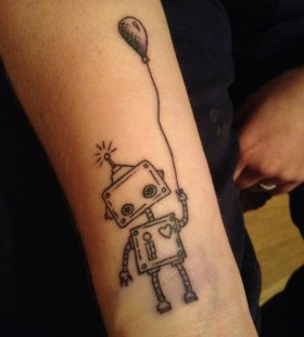 Robot with a balloon tattoo