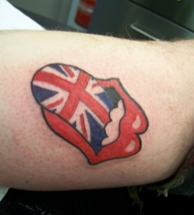 Rolling stones logo tattoo with UK flag