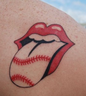 Rolling stones logo tattoo with baseball laces