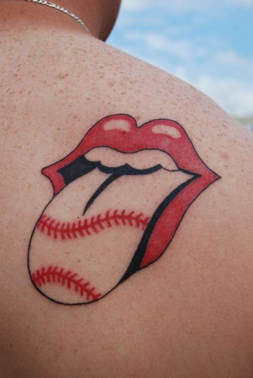 rolling tattoo stones baseball tattoos tongue lips laces related designs tattoomagz body tattooshunt posted ink