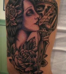 Scary skull in the mirror tattoo