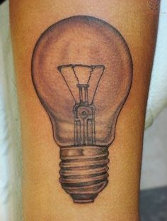Simetric lightbulb tattoo
