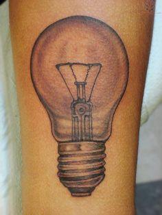 Simetric lightbulb tattoo