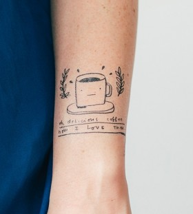 Simple and beautiful cup of coffee on arm