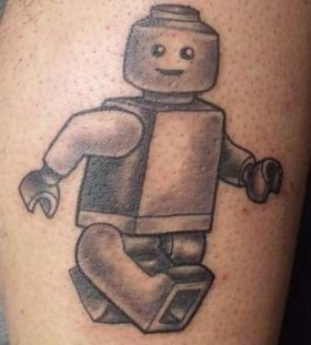 Simple lego man tattoo