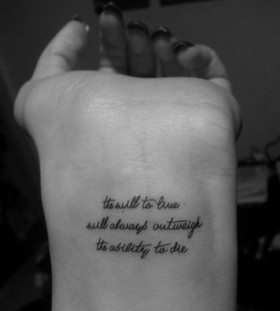 Simple quote wrist tattoo
