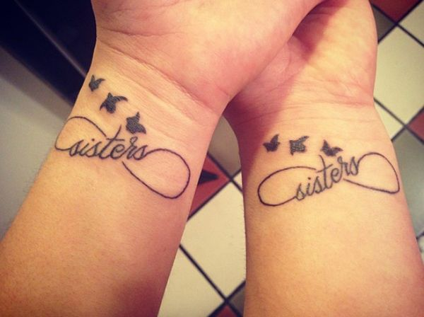 Sisters, birds and infinity tattoo