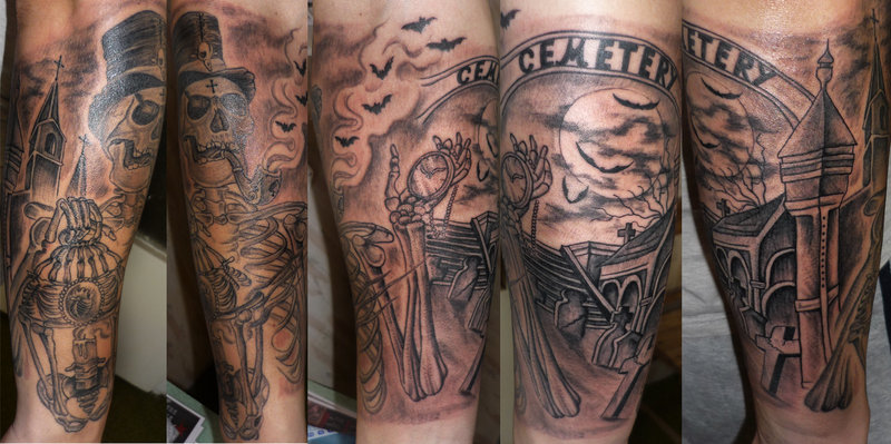 Cemetery Sleeve Tattoos And Cemetery Arm Tattoo