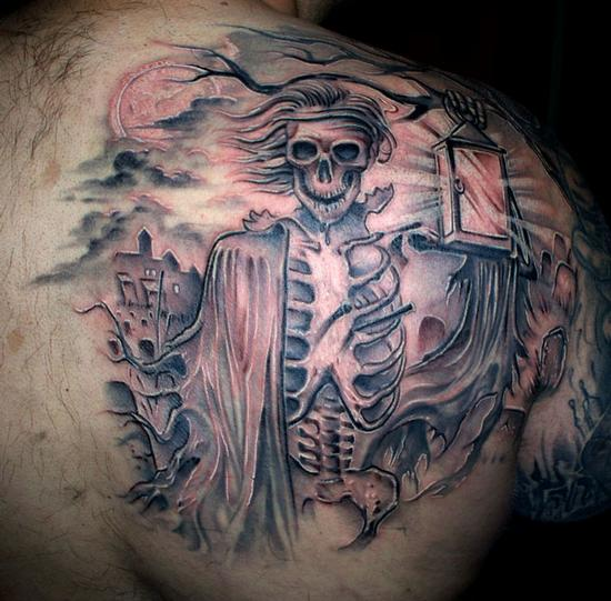 Skeleton with lantern back tattoo