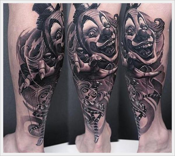 Smiling clown leg tattoo
