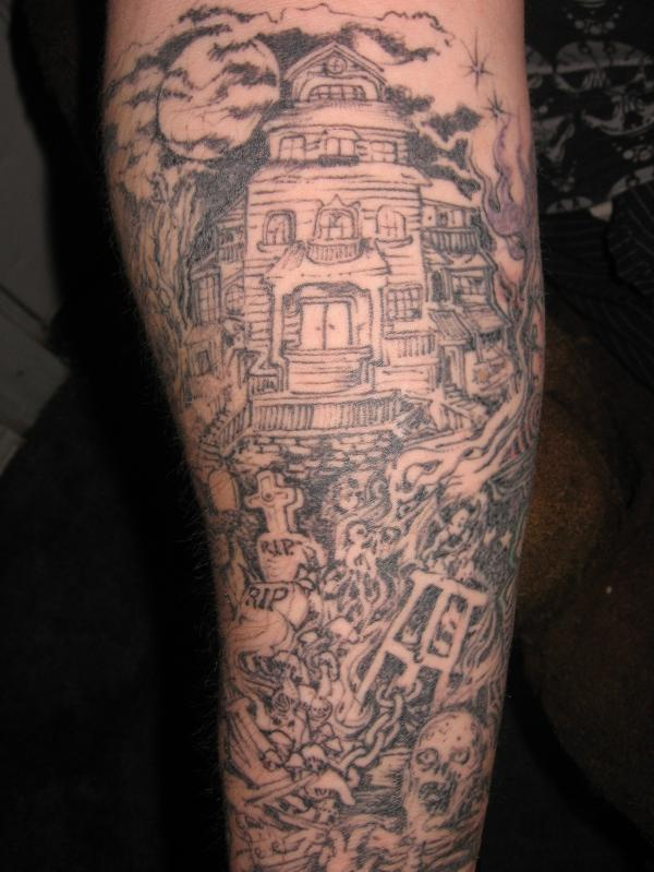 Cemetery Sleeve Tattoos Spooky Graveyard Sleeve Tattoo