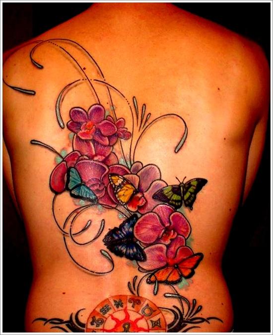 Stunning orchid back tattoo