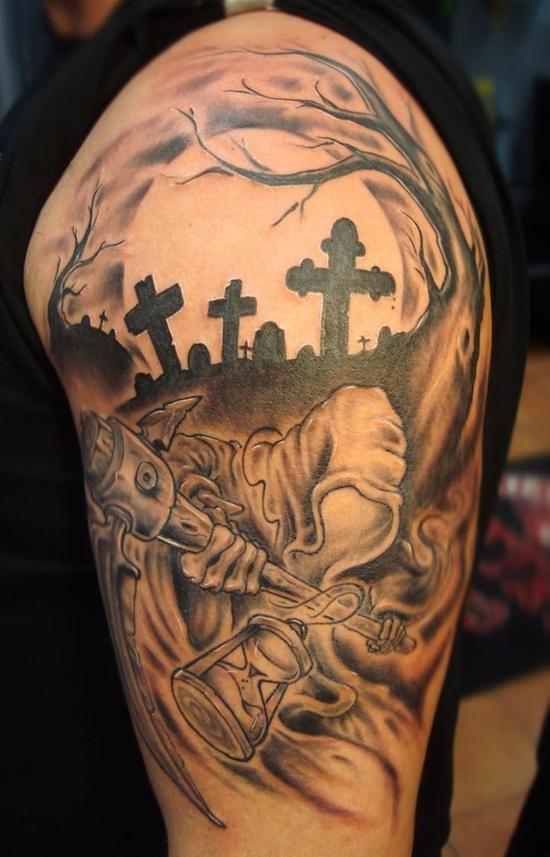 Thrilling cemetery arm tattoo