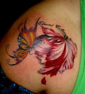 Twilight saga inspired red butterfly tattoo