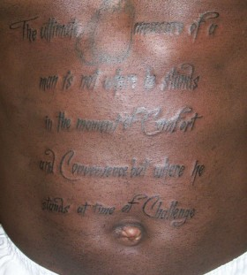 Ty Lawson's stomach tattoo
