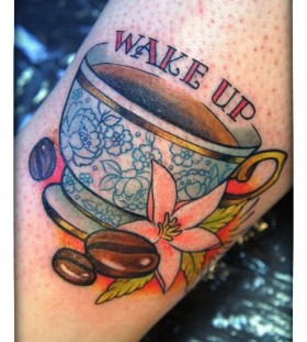 Wake cup coffee tattoo