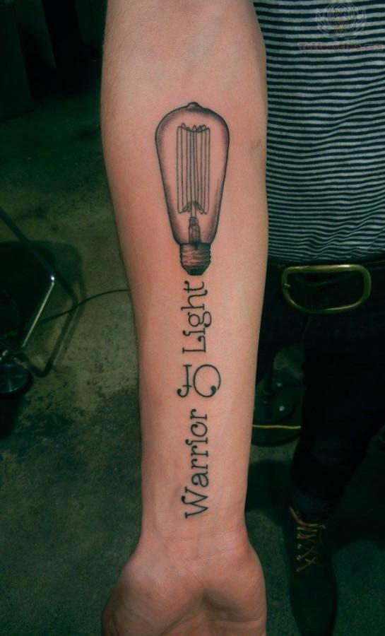 Warrior of light lightbulb tattoo