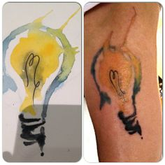Watercolor lightbulb tattoo