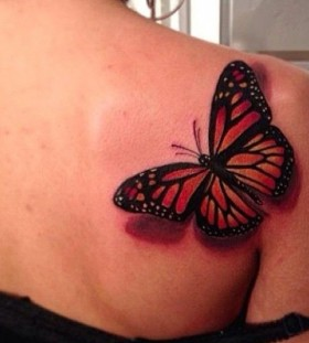 Women's lovely shoulder red butterfly tattoo