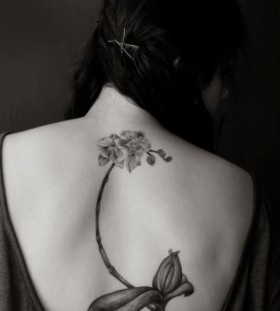 Wonderful orchid back tattoo